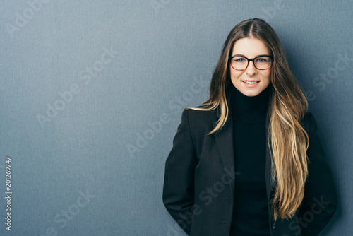 Fridge magnet Young woman with glasses wearing elegant jacket