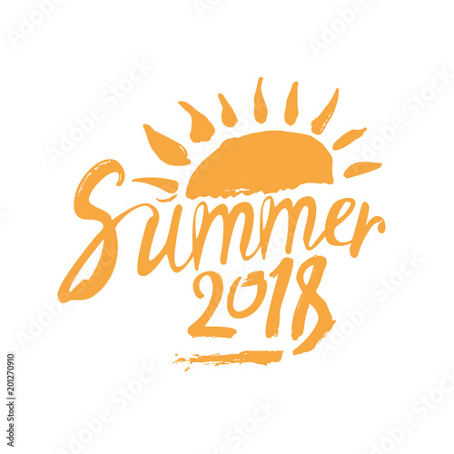 Summer 2018. Hand drawn yellow inscription and sun. Vector design logo template.