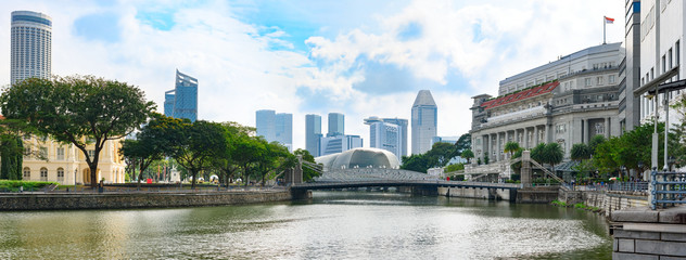 Singapore, panoramic view from river bank to Cavenagh bridge with down-town skyscrapers in background
