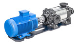 Electric water pump, horizontal multistage centrifugal pump. 3D rendering - 201277748