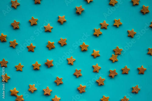 Blue background with stars.