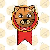 dorable cat in medal cartoon domestic animal vector illustration