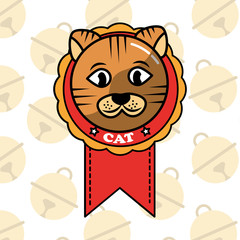 dorable cat in medal cartoon domestic animal vector illustration