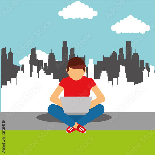 young man sitting on floor with laptop in legs cityscape vector illustration