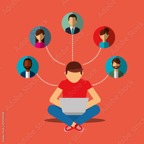 young man sitting on floor with laptop in legs social media connection people vector illustration