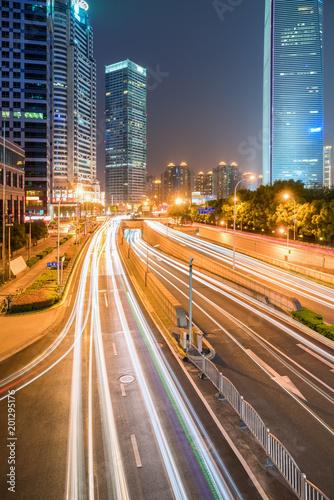 shanghai cityscape at night - 201295176