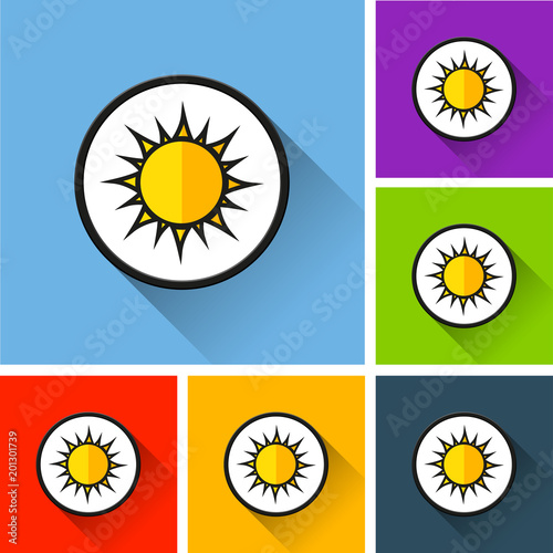 sun icons with long shadow