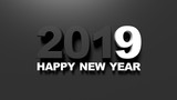 Happy new year 2019 on black background. 3d illustration