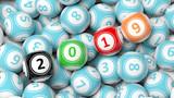 New year 2019 on bingo balls. Bingo lottery balls heap background. 3d illustration