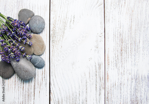 Lavender and massage stones