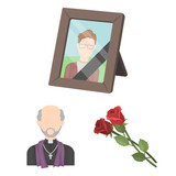 Funeral ceremony cartoon icons in set collection for design. Funerals and Attributes vector symbol stock web illustration. - 201318532
