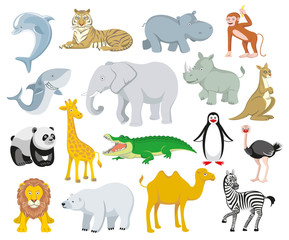 Wild animals and sea creatures set