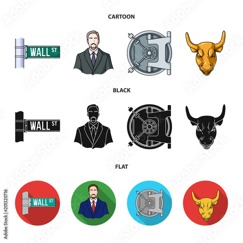 Wall Street, a businessman, a bank vault, a gold charging bull. Money and finance set collection icons in cartoon,black,flat style vector symbol stock illustration web.