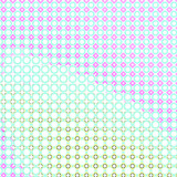 Retro pop art colorful halftone circles background with soft pastel teal and purple shapes