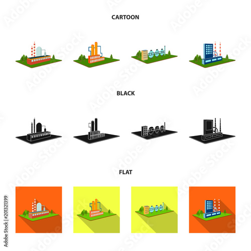 Processing factory,metallurgical plant. Factory and industry set collection icons in cartoon,black,flat style isometric vector symbol stock illustration web.