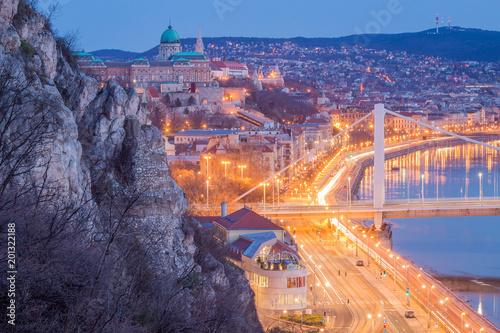 Morning Blue Hour Elisabeth Bridge, Buda Castle - Budapest, Hungary