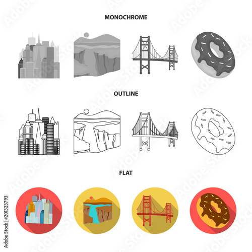 A megacity, a grand canyon, a golden gate bridge,donut with chocolate. The US country set collection icons in flat,outline,monochrome style vector symbol stock illustration web.