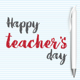 Happy teacher's day greeting card with hand written text. Vector.