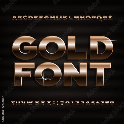 Czcionka alfabetu złoty efekt. Odważne, metalowe litery, cyfry i symbole. Wektor krój pisma dla swojego projektu.