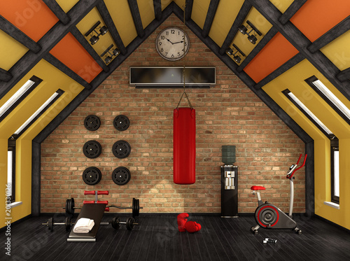 Poster Home gym in the mansard