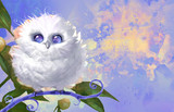 Digital raster cartoon illustration of a funny fluffy white owl with cosmic eyes sitting on a curly branch on a colorful background - 201331734