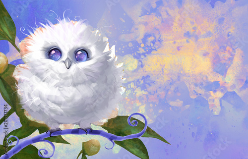 Plexiglas Uilen cartoon Digital raster cartoon illustration of a funny fluffy white owl with cosmic eyes sitting on a curly branch on a colorful background