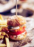 Hamburger in fast food restaurant - 201335985