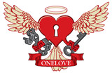 Vector banner with the inscription ONE LOVE. Template for clothes, textiles, t-shirt design. Illustration with lock in the shape of winged heart with birds legs and tail, halo, key and open handcuffs