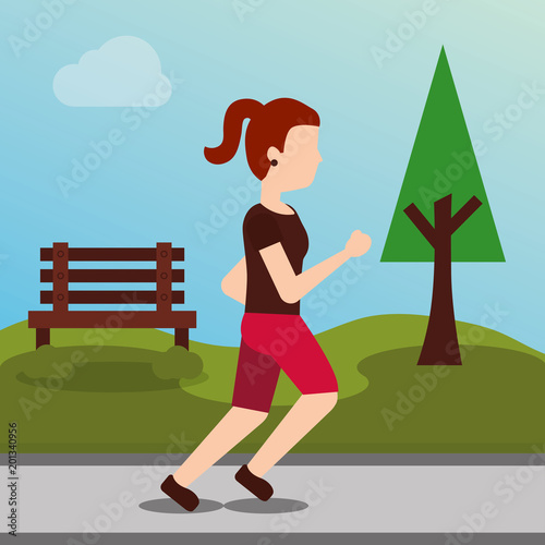 woman sport jogging active athletic in the park vector illustration