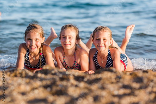 Happy kids on the beach