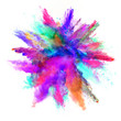 Abstract colored powder explosion isolated on white background.