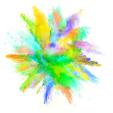 Abstract colored powder explosion isolated on white background. - 201348770