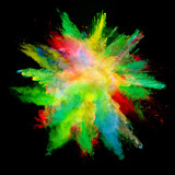 Abstract colored powder explosion isolated on black background. - 201348912