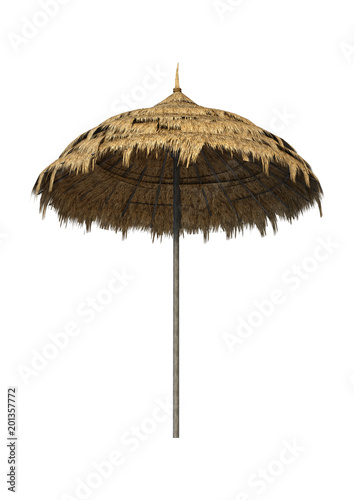 3D Rendering Straw Umbrella on White