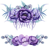 Set of Watercolor Bouquet with Purple Flowers - 201359734