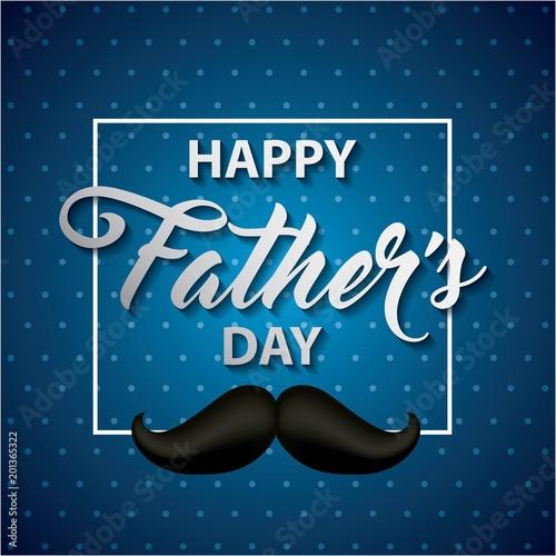 szczęśliwy dzień ojca pasiasty niebieski tło znak z czarny wąs ważna data ilustracji wektorowych