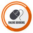 Online booking flat design orange round vector icon in eps 10