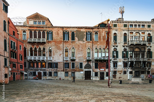 VENICE, ITALY - December 21, 2017 : street view of old buildings in Venice, ITALY © ilolab