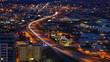 Aerial of San Antonio, Texas expressways at night