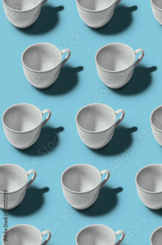 Pattern. Cup concept. Group of white cups on blue background. Creative style. - 201373593