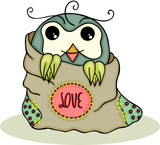 Cute owl inside a love bag - 201374341