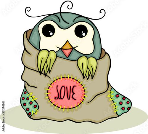 Cute owl inside a love bag