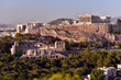 Panoramic Skyline of the capital city of Athens and the famous Acropolis Hill in Greece