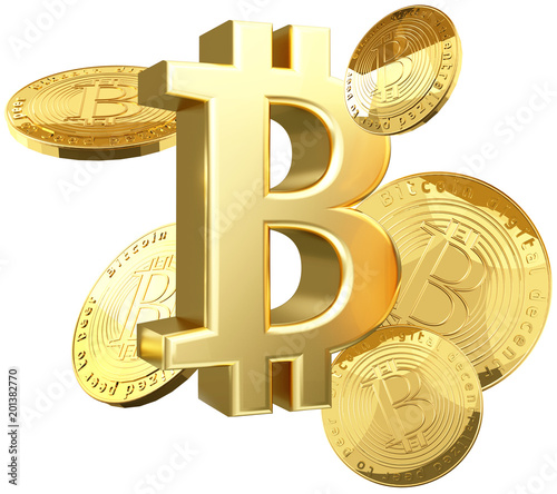 Bitcoin złotych monet 3d rendering