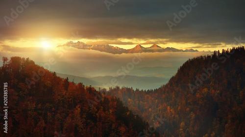 Fotobehang Zonsopgang Panoramic view from Solkolica Peak to Tatra mountain.