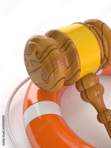 Gavel with life buoy