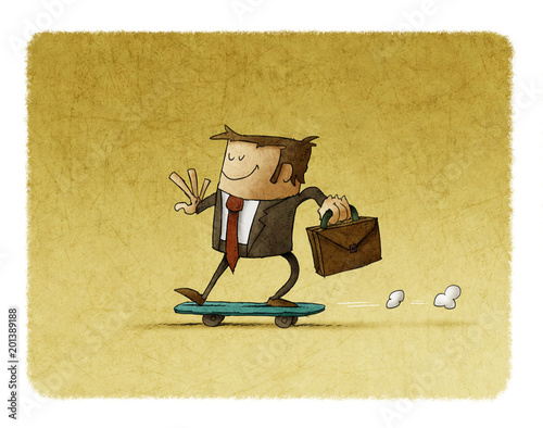 businessman with a briefcase in his hand is riding on a skateboard