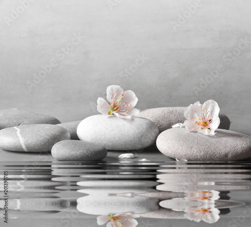 flower and stone zen spa on grey background - 201390785