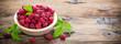 Fresh raspberries in the bowl