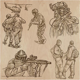 Soldiers, Army - An hand drawn vector collection. Warriors around the World. Freehand sketching, hand drawing. - 201411718